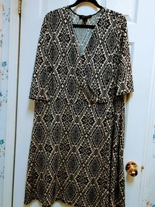 Ashley Stewart Plus Faux Wrap Print Dress 22/24